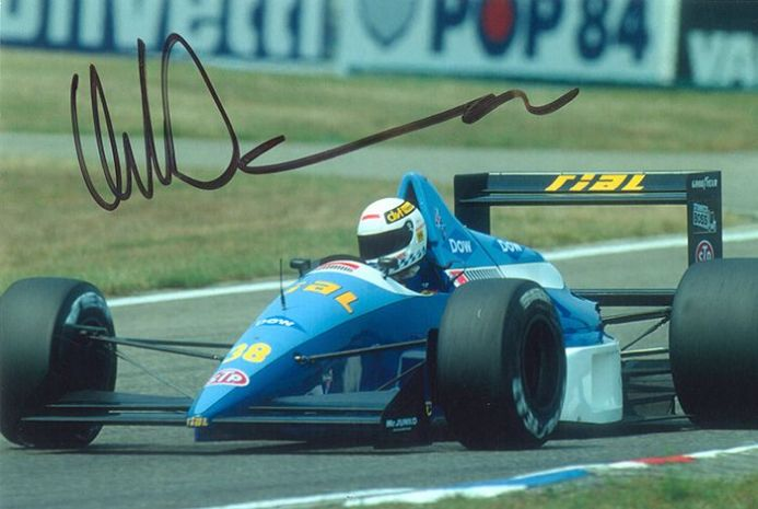Christian Danner, Formula One, signed 6.5x4.5 inch photo.